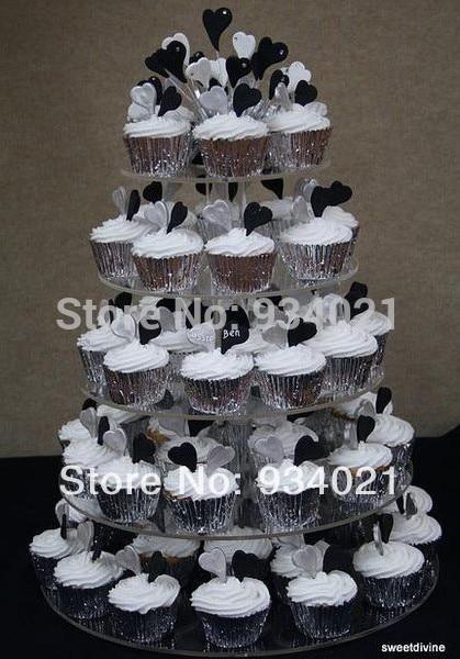 Usine de conception moderne de 5 niveaux vendent le support de gâteau de tasse acrylique, support de gâteau de Lucite, support de gâteau en plastique