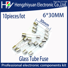 Hzy 10pcs multimeter Fuse Quick Fast Blow Fuse Glass Tube thermo Fuses 6*30mm 250V 1A/2A/3A/4A/5A/6A/7A/8A/10A/15A/20A/25A/30A