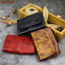 PNDME high quality vintage hasp genuine leather card bag simple top layer cowhide small Coin Purses handmade mini thin wallets