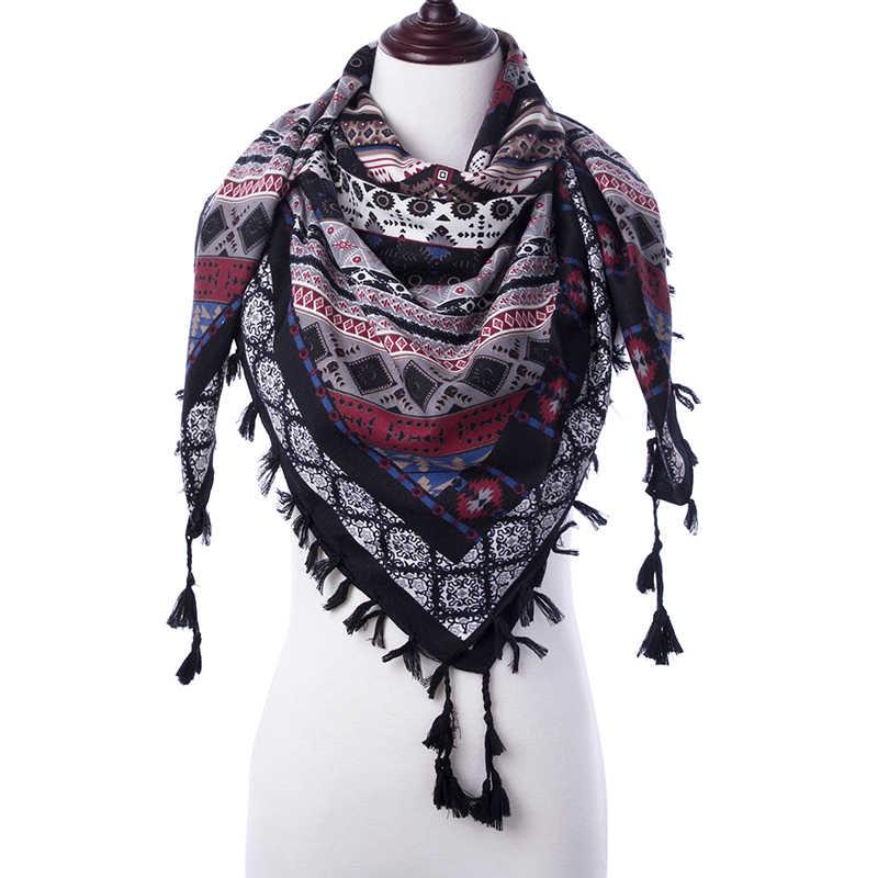 Evrfelan borla triangular invierno bufanda para mujer diseño de moda estampado triángulo bufanda bufandas señoras suave chal Wrap 110*110*180cm