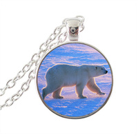 Cute Polar Bear Necklace Animal Jewelry Glass Dome Pendant Silver Long Chain Necklace Wildlife Neckless Gifts