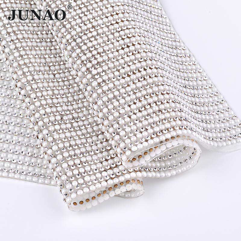 JUNAO Hotfix Clear White Pearl and Glass Rhinestones Mesh Trim Beads Fabric Bridal Crystal Applique Strass Band for Dress Crafts
