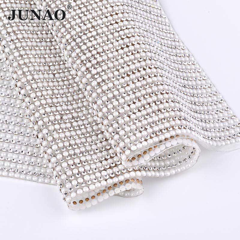JUNAO-korjaustiedosto Selkeä valkoinen helmi ja lasi tekojalokivi Mesh Trim helmet Kangas morsiamen kristalli aplikointi Strass bändi mekko käsitöitä  t
