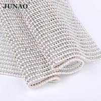 JUNAO Hotfix Klar Perle Strass Netzverkleidung Weiße Perle Perlen Appliques Kristall Strass Kette Band für Hochzeit Kleid Handwerk