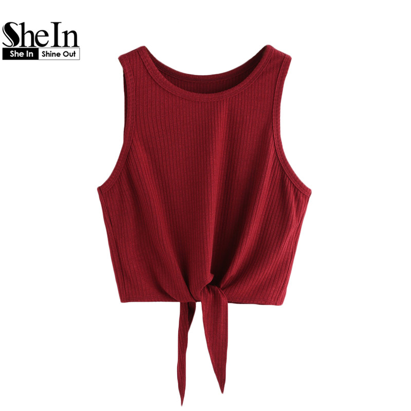 SheIn Summer Style Tank <font><b>Top</b></font> For Ladies Casual <font><b>Tops</b></font> Woman Plain Round Neck <font><b>Sleeveless</b></font> Tie Front <font><b>Ribbed</b></font> Crop Tank <font><b>Top</b></font>