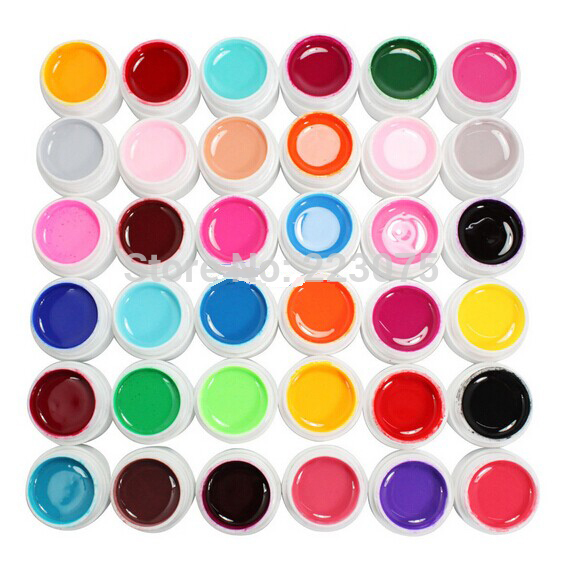 Hot DIY 36 Color Solid Pure UV Builder Gel Set Nail Art False Full French Tips Salon Set