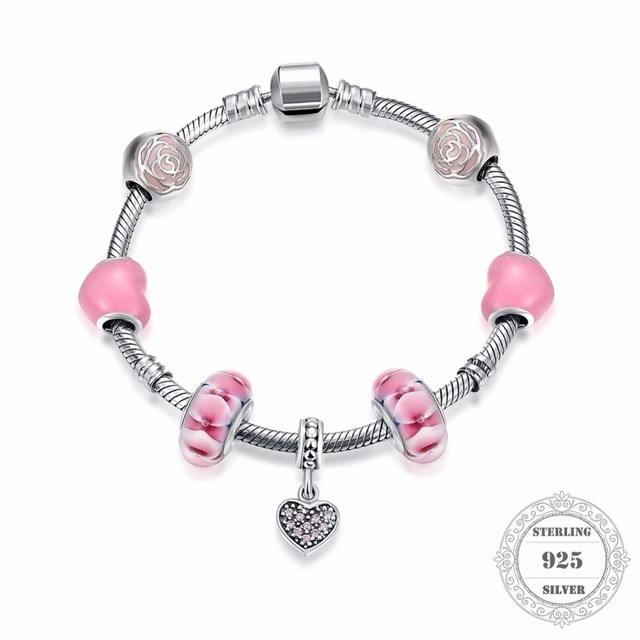 HEMISTON 925 Sterling Silver Pink Heart Rose Charm Bracelets with Heart for Women Fine Jewelry Original Gift PAB012