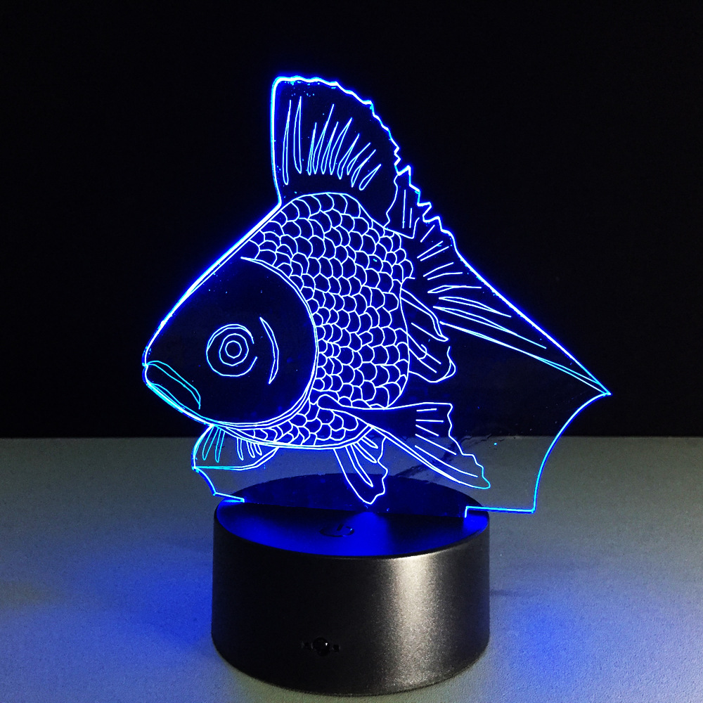 Color change online - 7 Color Changing Night Light Goldfish Collectible Charizard 3d Led Table Desk Lamp Cartoon Figure Children S