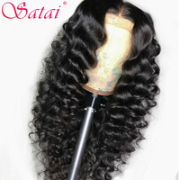 Satai Human Hair Wigs Loose Wave Lace Front Wig Pre Plucked Hairline 150% Density 13x4 Human Hair Wigs Brazilian Remy Hair