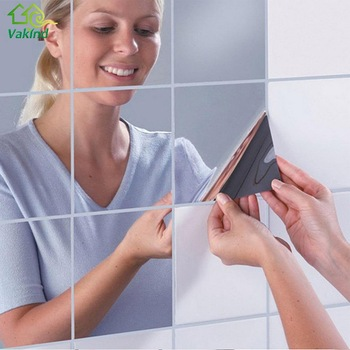 16Pcs Mirror Wall Stickers Silver DIY Wall Stickers Mosaic Bathroom Mirror Sticker Squares Self-adhesive Wall Paper 15x15cm