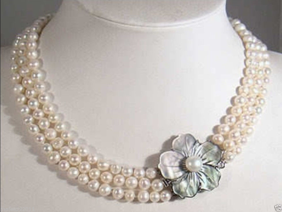 3 Rows 7 8mm White Akoya Pearl Necklace Shell Clasp