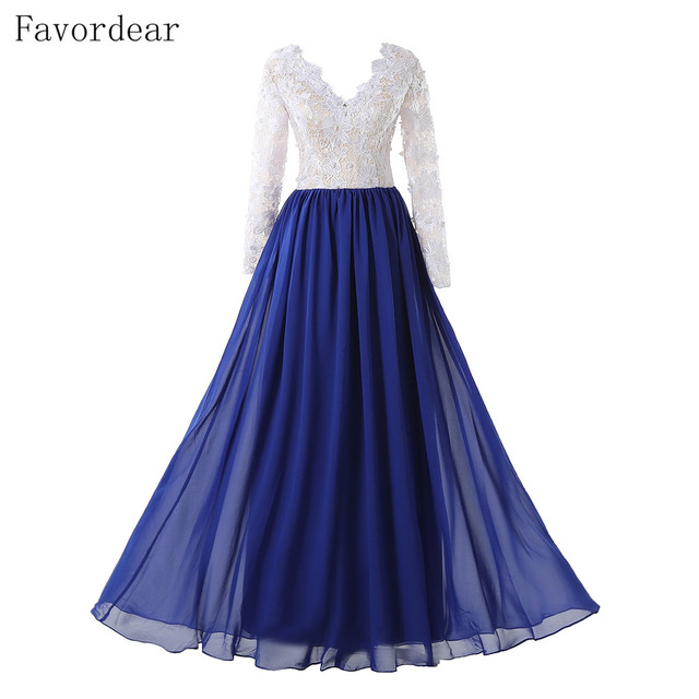 Favordear 2017 New See Through Back Royal Blue White Evening Dresses ...