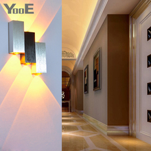 YooE Indoor Lighting 6W LED Wall Lamp AC100V/220V Aluminum Decorate Corridor Wall Sconce Stairs Bedroom LED Wall Light
