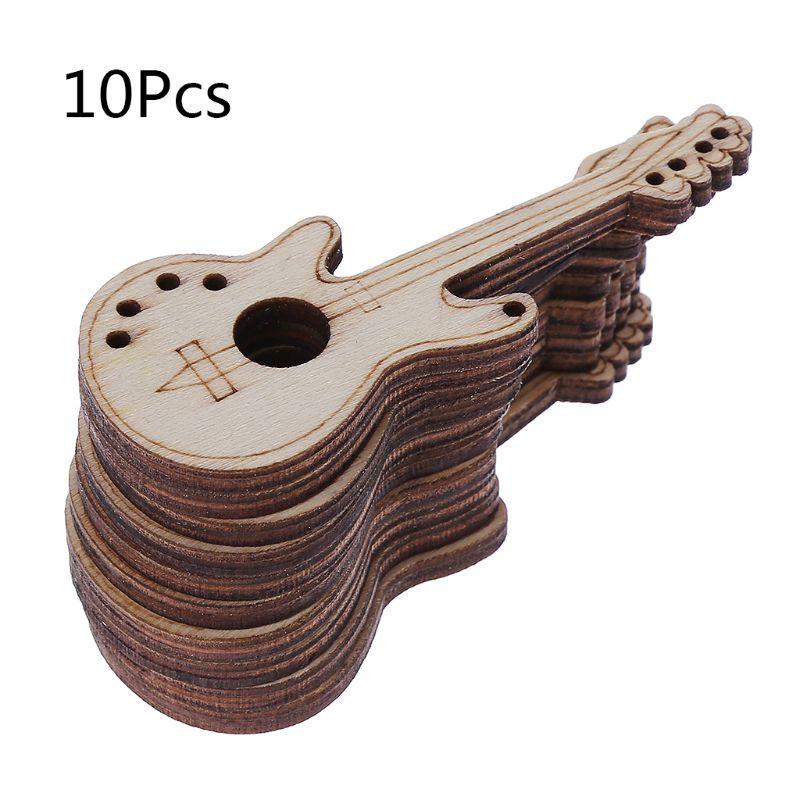 10 шт./пакет, лазерная резка, деревянная гитара, украшение, деревянная форма, ремесло, свадебное украшение