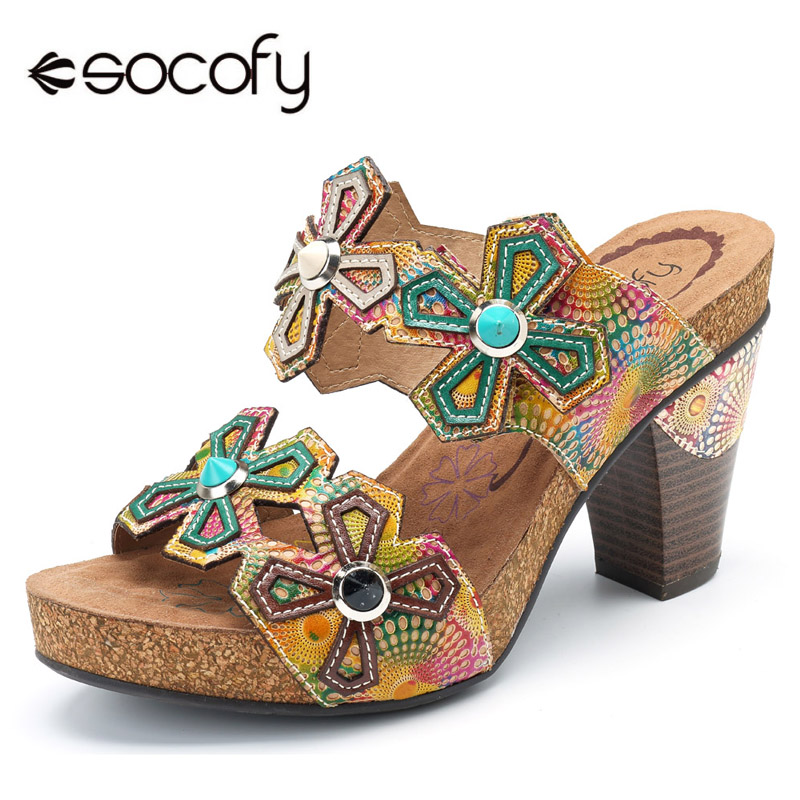 цены на Socofy Bohemian Summer High Heels Slippers Slides Genuine Leather Women Shoes Handmade Flower Block Heels Ladies Shoes Woman New