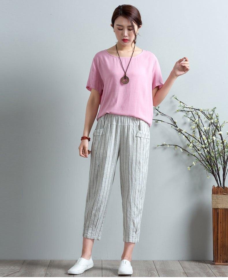 2019 Summer Women Elastic High Waist Stripe Pockets Sweatpants Trousers Loose Casual Plus Size Cotton Linen Harem   Pants