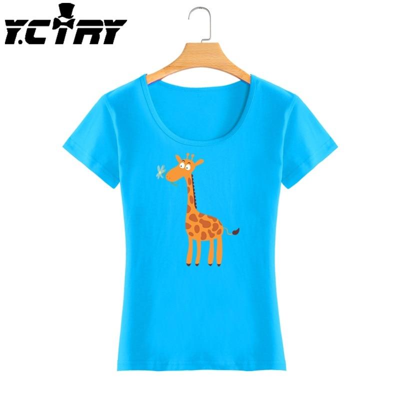 Y.CTRY Giraffe Print Shirt T-shirt Women Brand 2016 Cartoon Giraffes Pictures Teenage Girls Clothing Funny T Shirts Women ZX347