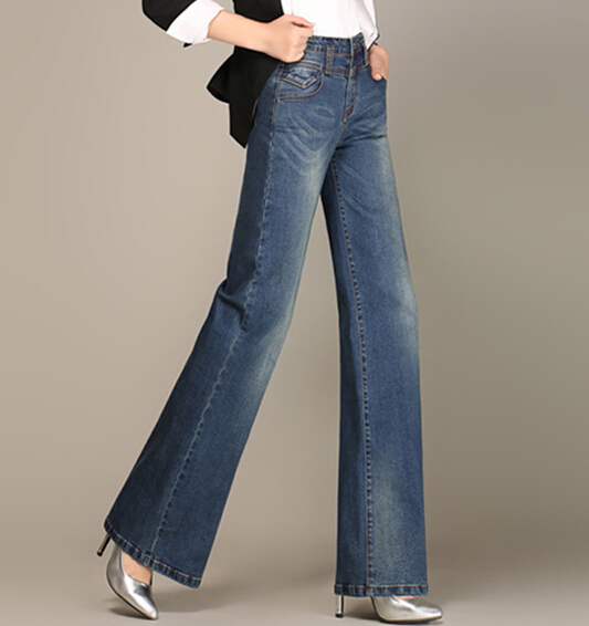 Wide leg pants for women denim jeans casual plus size full length autumn spring cotton slimming female trousers aly0603 cotton denim jeans casual plus size straight pants for women autumn spring full length high waist loose female trousers jln0609
