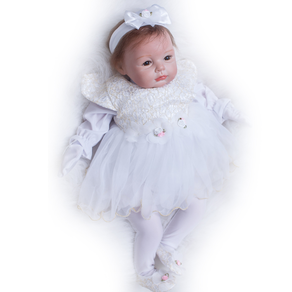 50-55CM Silicone Doll Reborn Baby girl realistic Handmade Cloth Body Reborn Babies Doll Toys Baby Growth Partners Best kids Gift