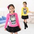 Desgaste das crianças Novas Meninas Primavera-Coreano de mangas compridas T-shirt da Primavera e Outono Crianças Roupas 4 Cor