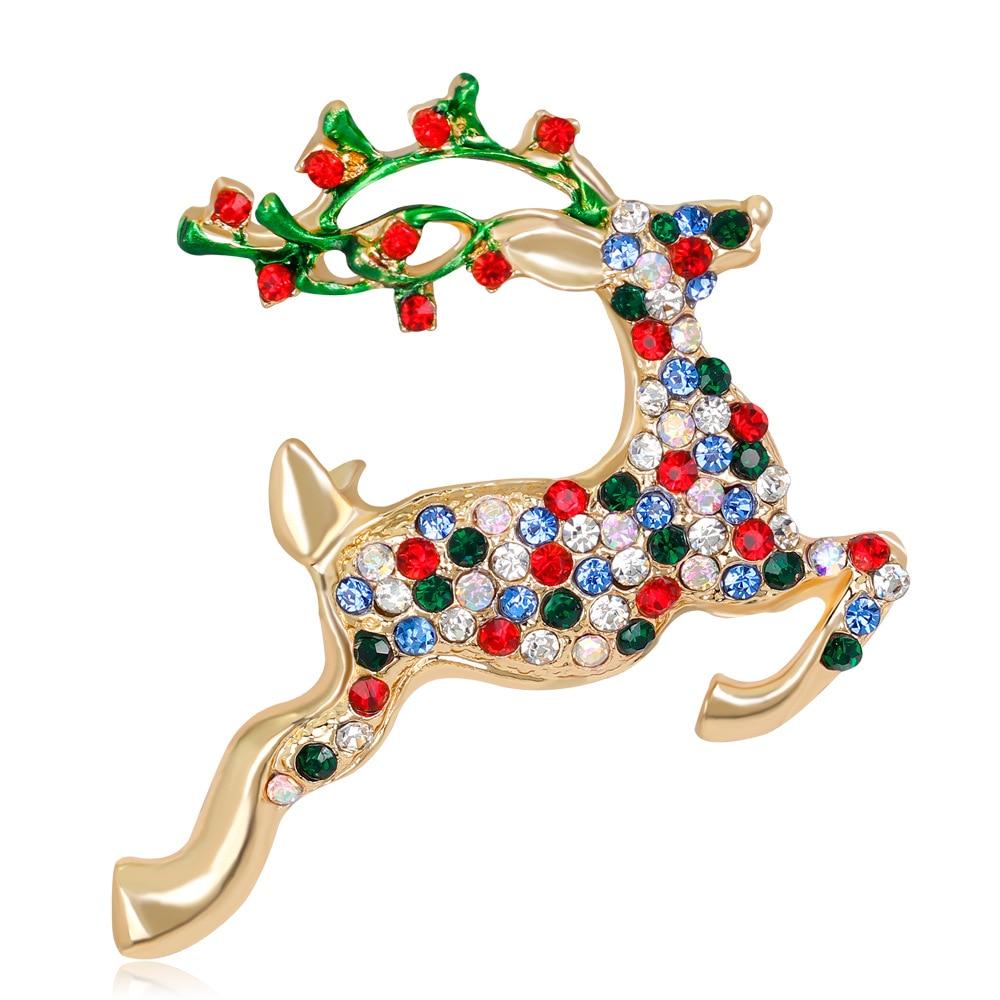 JUJIE JEWELRY Rudolph Crystal Christmas Deer Brooches Fashion Elaphurus Davidianus Brooches Reindeer Elk Wapiti Moose Brooches Рыбная ловля