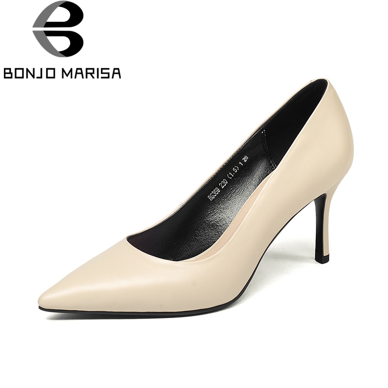 BONJOMARISA 2018 Spring Autumn Concise Style Women Pumps High Heels Shallow Ol Shoes Woman Genuine Leather Pointed Lady Shoe siketu free shipping spring and autumn high heels shoes career sex women shoes wedding shoes patent leather style pumps g017