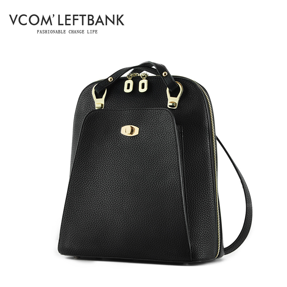 High Quality Leather Women Backpack Stylish Simplicity Backpacks For Teenage Girls Bagpack with Lock zipper Bag Vcom'Leftbank redmond rcm 1501 кофеварка