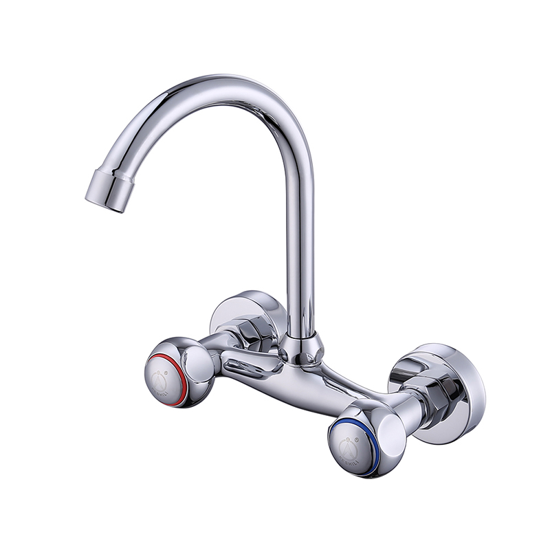 цена на Copper kitchen faucet into wall sink kitchen basin tap 360 degree rotation double single hole wx6051039