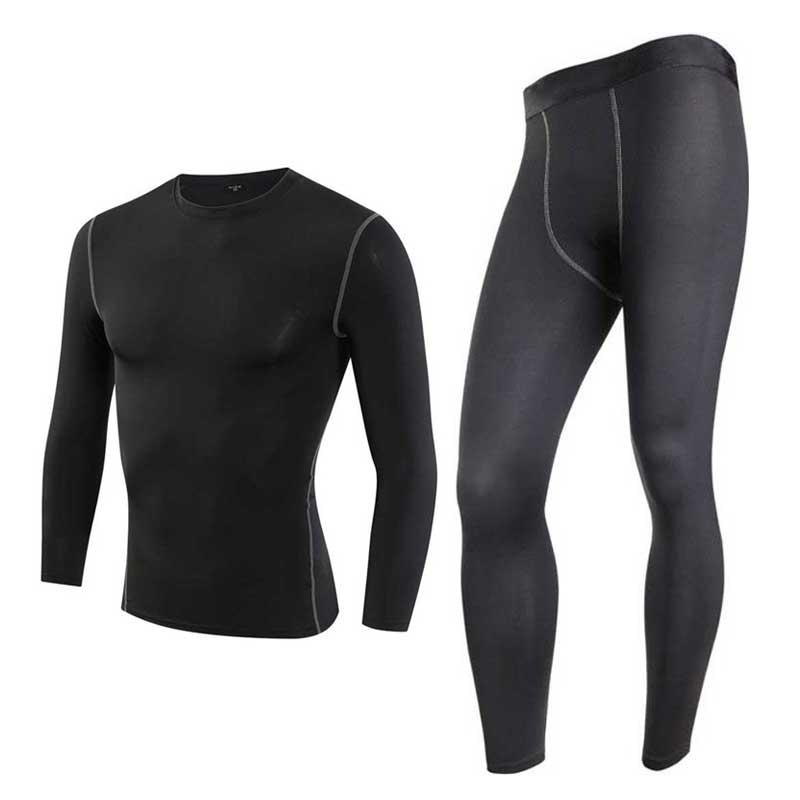 Men Pro Conpress font b Fitness b font Winter Thermal Underwear Set Quick Dry Gymming Male