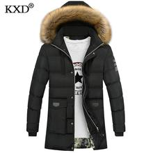 KXD Brand New Winter Fur Jacket Bio Down Parkas Men 2017 Fashion Casual Design Hooded Long