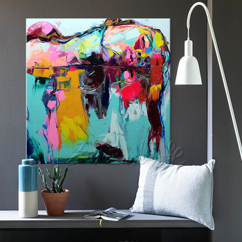 Hand painted Francoise Nielly Palette knife portrait Face woman Oil  painting Character figure canva wall Art picture16-14