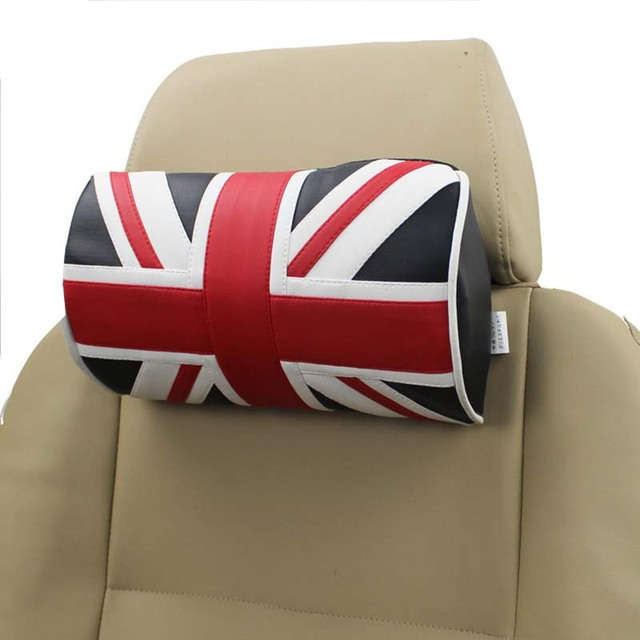 Us 21 85 Uk Flag Car Seat Pillow Neck Pvc Leather Car Headrest Supports Cotton Pillows Auto Interior Seat Accessories British Style In Neck Pillow
