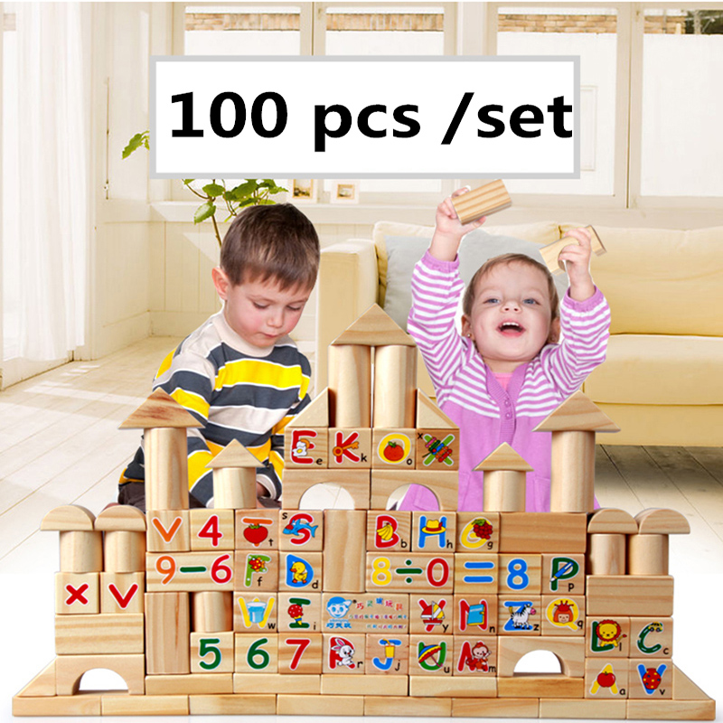 Hot sale 100 pcs/set Model Building Kits Baby Literacy chunks wooden building blocks children's Early Educational toys 50pcs hot sale wooden intelligence stick education wooden toys building blocks montessori mathematical gift baby toys