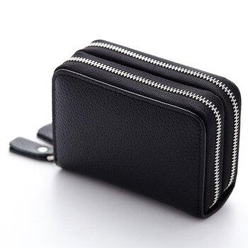 f3aaf493188e Uniego 2019 натуральная кожа RFID Для женщин Для мужчин бумажник для  документов двойная молния банк Кредитная карта Бизнес держатель для карт  Орга..