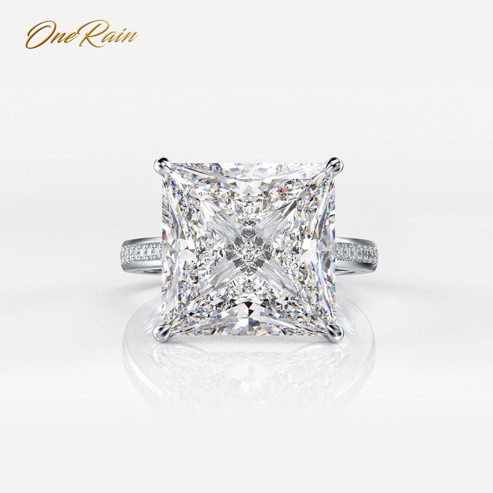 OneRain 100% Plata de Ley 925 cuadrado Moissanite diamantes piedras preciosas compromiso boda pareja anillos Joyería Al por mayor tamaño 5 12-in Anillos from Joyería y accesorios    1