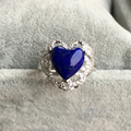 CoLife Jewelry Heart shape Lapis Lazuli ring classic 925 silver ring with 9 mm genuine Lapis Lazuli stone heart ring for woman