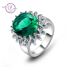 купить Top Brand Created Emerald Ring Solid 925 Sterling Silver Rings For Women Anniversary Gift For Mother Fine Jewelry Ring Wholesale по цене 265.08 рублей