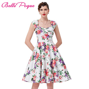 Retro Vintage Dresses 1950s 60s Belle Poque Women Rockabilly Summer Dress 2018 Audrey Hepburn Cotton Hollowed Back Ruched Bodice