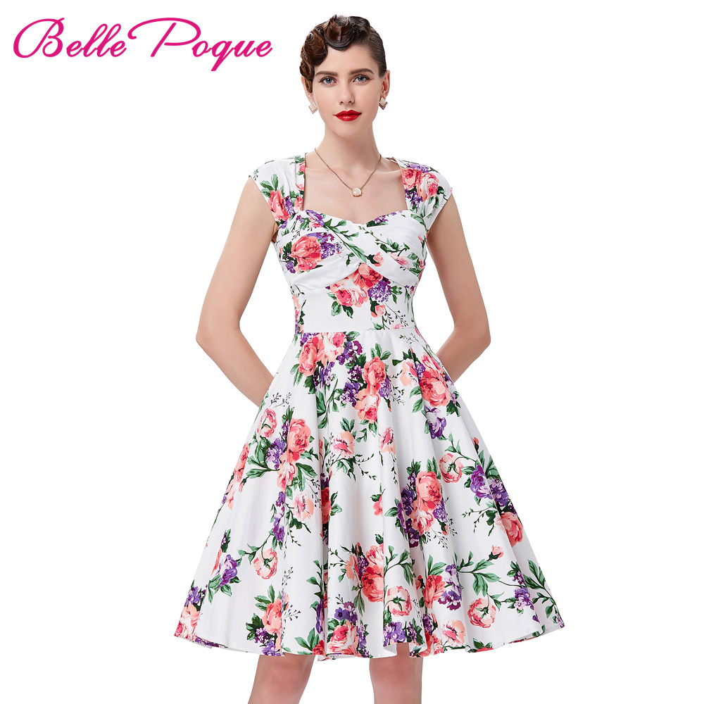 Buy Cheap Retro Vintage Dresses 1950s 60s Belle Poque Women Rockabilly Summer Dress 2017 Audrey Hepburn Cotton Hollowed Back Ruched Bodice