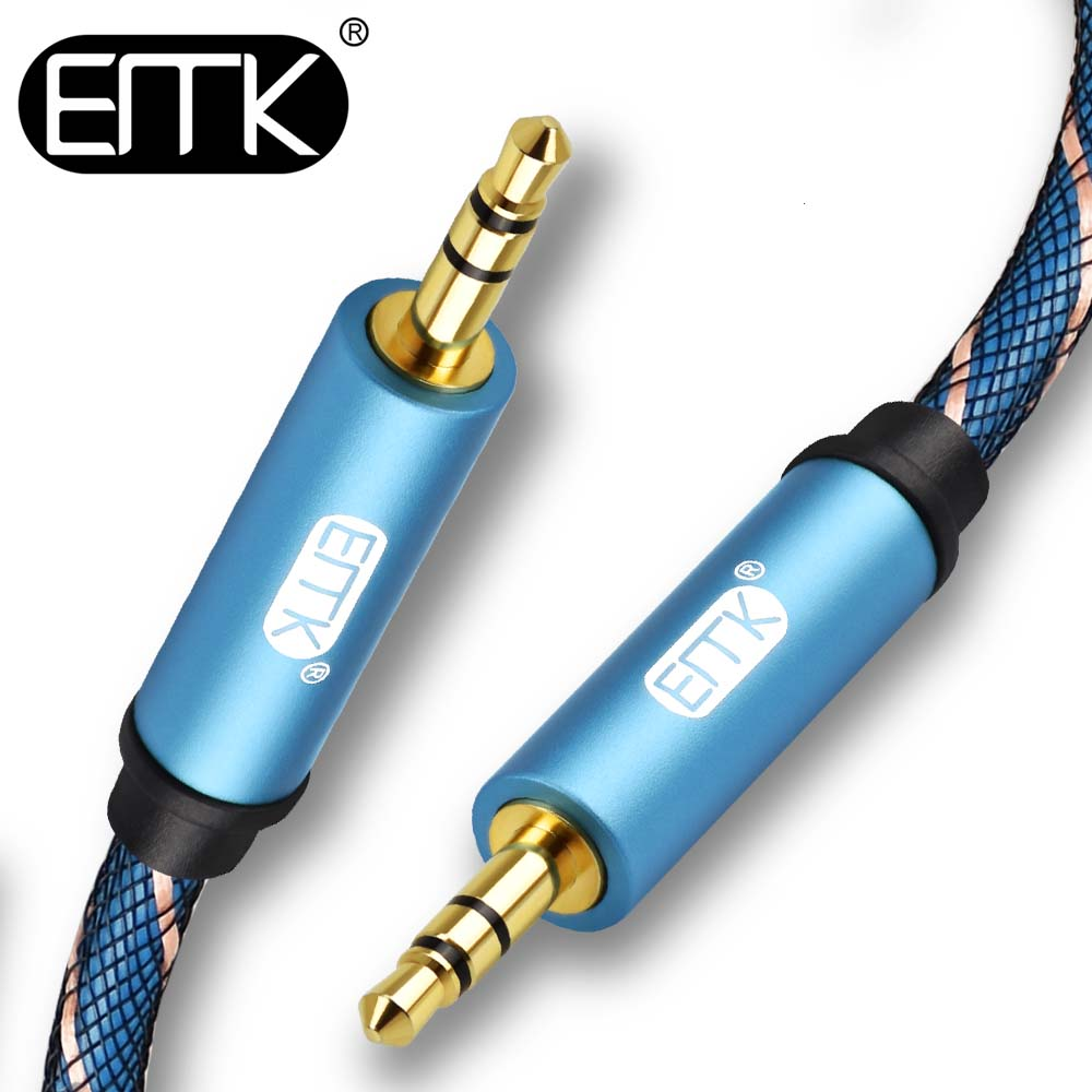 EMK 3 5 Jack Cable aux cable Male to Male 3 5mm Audio Cable 0 5m 1m 2m 3m 5m aux headphone cable For iPhone Car computer Speaker