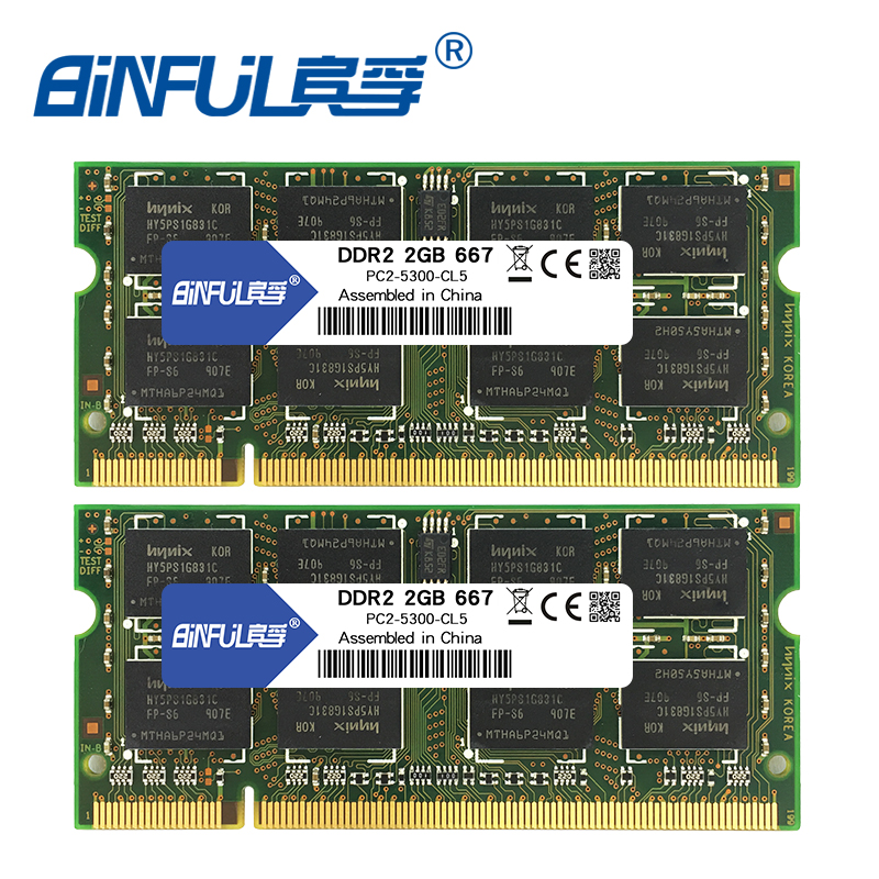 Binful DDR2 4GB (2pcsX2GB) 667mhz PC2-5300 Dual channel for laptop Notebook Memory memoria Ram 1.8V binful 100