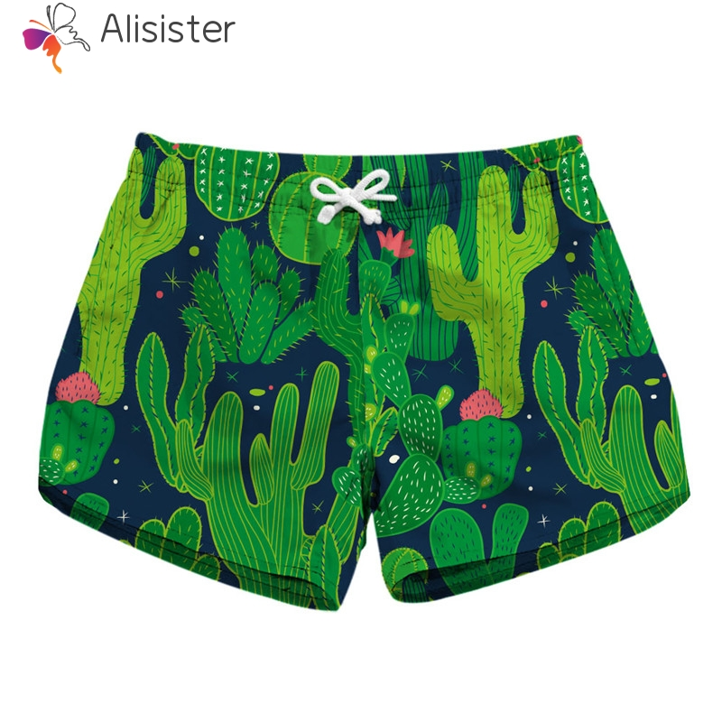 2019 Summer Boho Cactus Floral Skull Print Shorts Women Sunshorts High Waist Drawstring Quick Drying Trunks Casual Street Wear