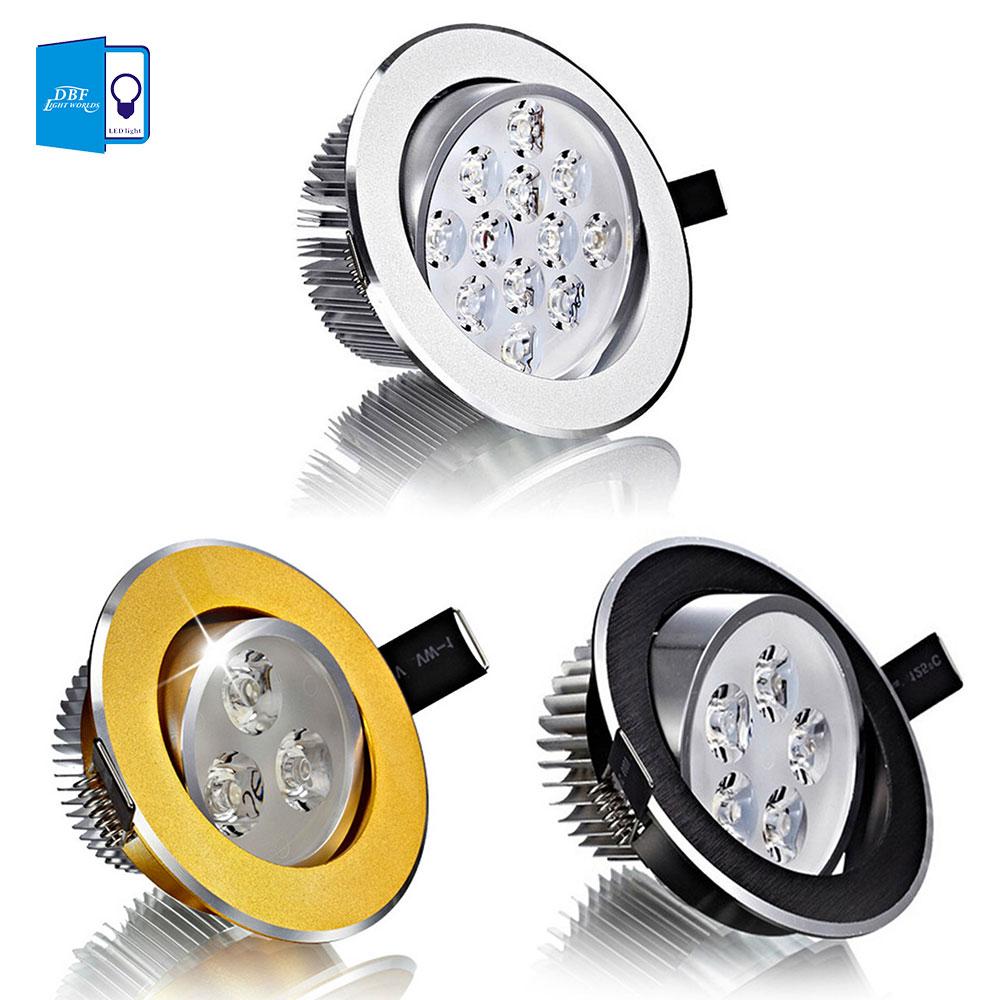 Downlights levou teto spot light + Wattage : 3w 5w 7w 9w 12w 15w