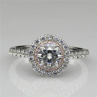 Double Halo Round 1CT Test Positive Esdomera Moissanites Ring 9k White Gold Pink Accents Lab Grown