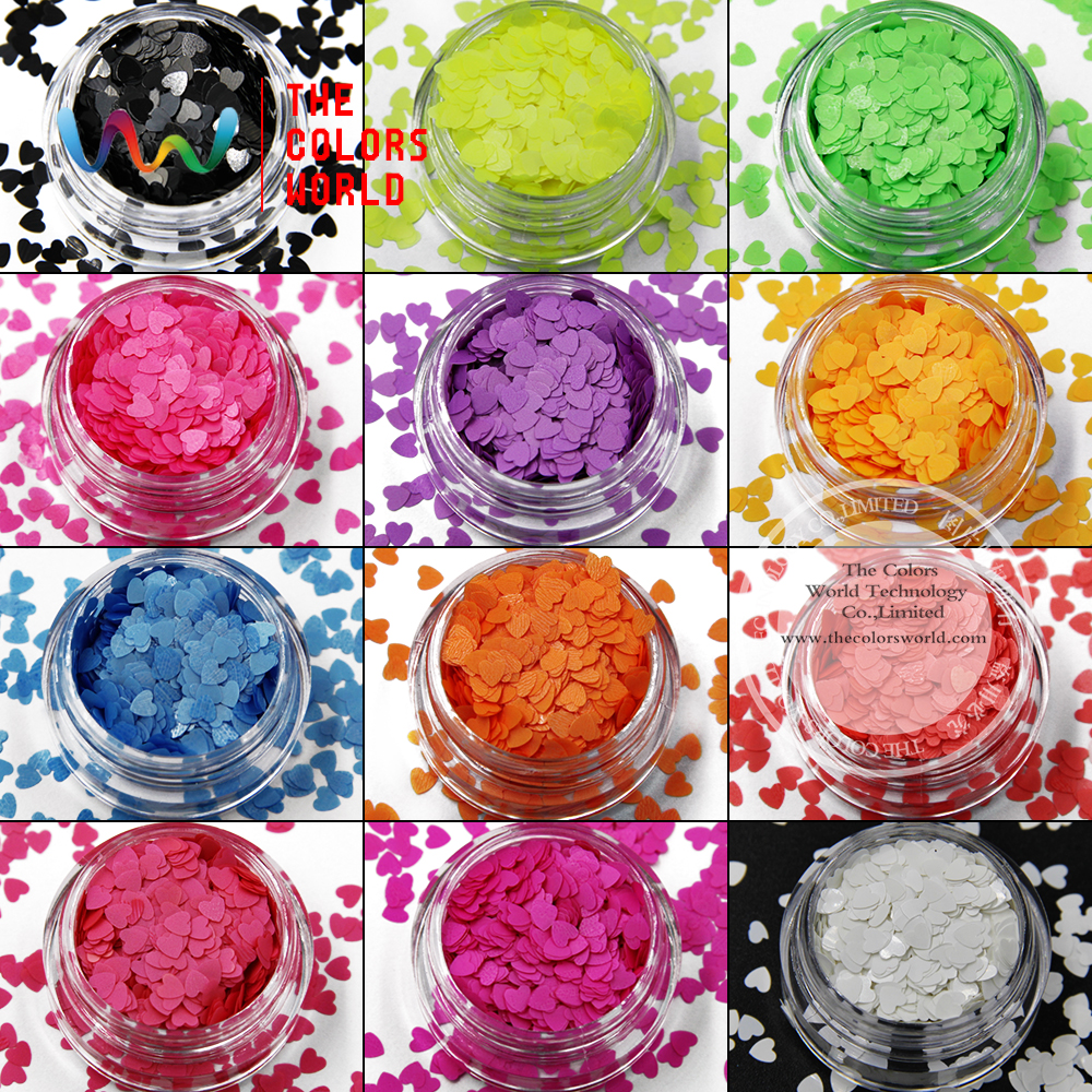 TCT-022 네온 컬러 용제 형 하트 모양과 12 가지 색상 - 네일 아트