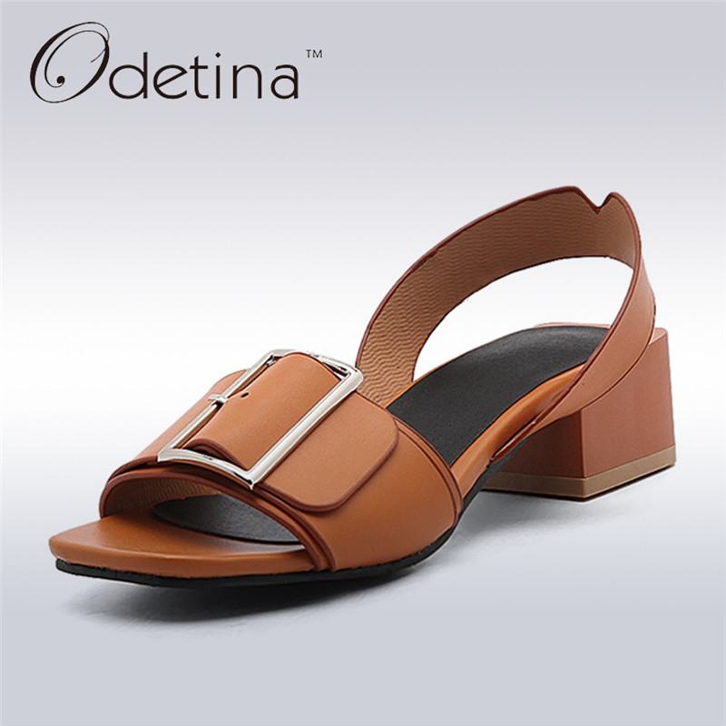 Odetina 2017 Back Strap Sandals for Women Chunky Heel Sandals Peep Toe Square Buckle Ladies Summer Shoes Mid Heel Big Size 34-43 цены онлайн