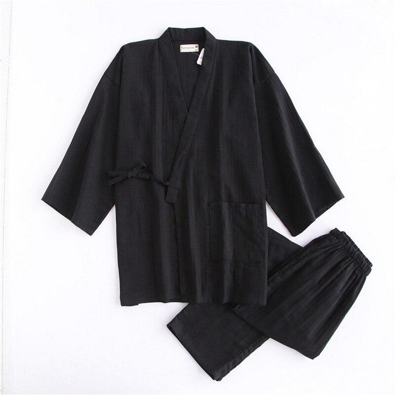 Black kimono male 100% cotton pajamas sets Japanese sauna mens robes pyjamas simple pijama hombre SPA homewear bathrobes men