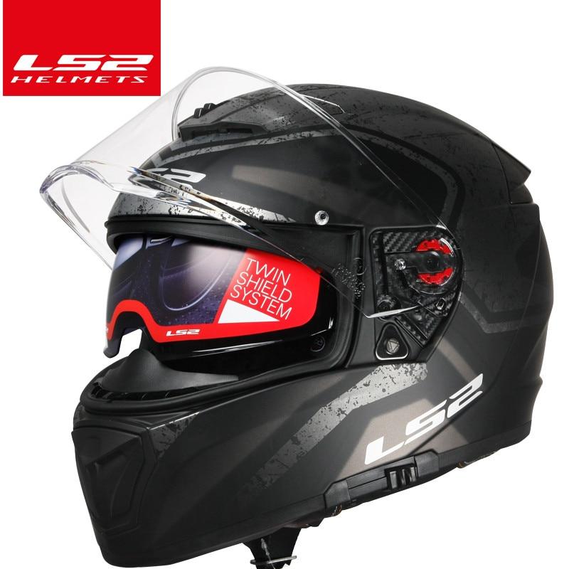 2017 nouveauté marque ls2 casques Moto Casque FF390 chrome miroir double objectif Plein Visage DOT avec Pinlock casco modulaire