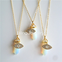 SN-104 Healing Crystal Opal Hexagonal Crystal Point Necklace with Rhinestone Evil Eye Pendant Necklace