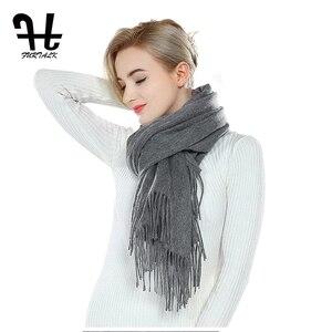 Image 3 - Furtalk 100% Lamswol Sjaal Vrouwen Winter Kasjmier Warme Sjaals Kwastje Luxe Winter Hijab Sjaal Wraps Foulard Femme